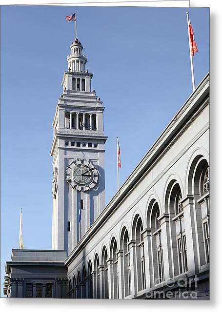 Port Of San Francisco Ferry Building On The Embarcadero - 5d20838 Greeting Card by Wingsdomain Art and Photography