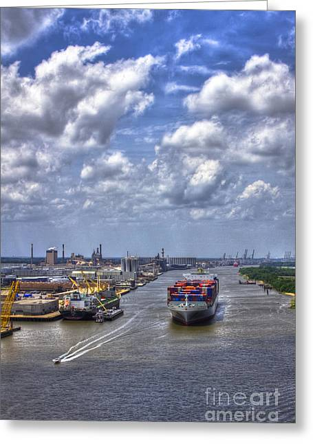 Port Of Savannah Harbor Greeting Card by Reid Callaway