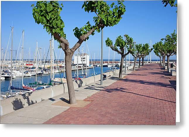 Port Olimpic Promenade In Barcelona Greeting Card by Artur Bogacki
