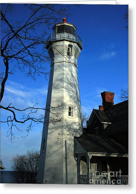 Port Sanilac Lighthouse Greeting Card by Kathy DesJardins