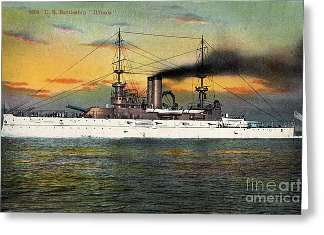 Port Side Of  The Battleship Illinois Bb-7 Circa 1908 Greeting Card