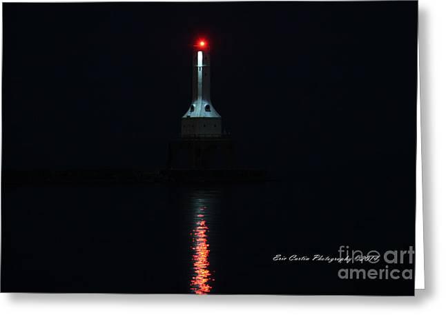 Port Washington Night Light. Greeting Card by Eric Curtin