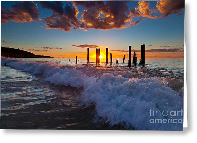 Port Willunga Jetty Ruins Sunset Greeting Card