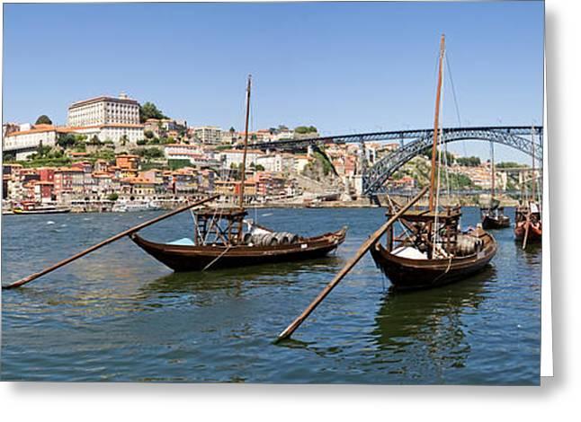 Port Wine Boats In Porto City Greeting Card