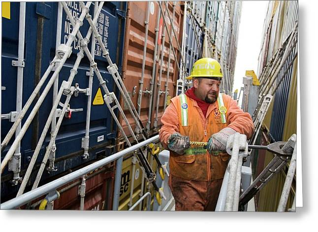 Port Worker Handling Cargo Containers Greeting Card by Jim West