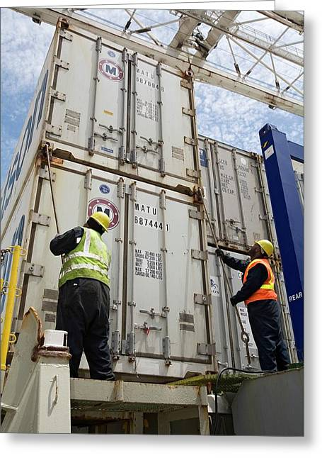 Port Workers Handling Cargo Containers Greeting Card by Jim West