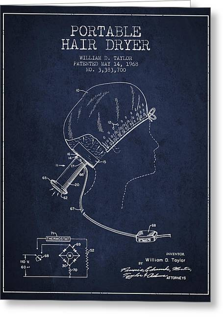 Portable Hair Dryer Patent From 1968 - Navy Blue Greeting Card by Aged Pixel