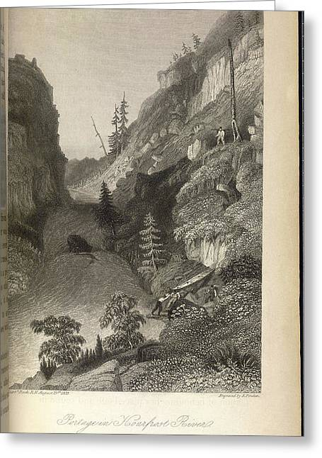 Portage In Hoarfrost River Greeting Card by British Library