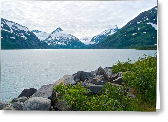 Portage Lake And Glacier In Chugach National Forest-ak Greeting Card