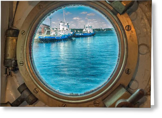 Hmcs Haida Porthole  Greeting Card