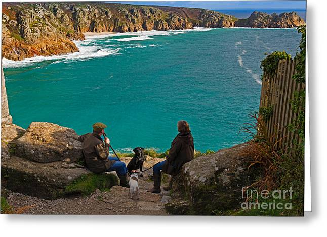 Porthcurno Bay And Logan Rock Greeting Card by Louise Heusinkveld