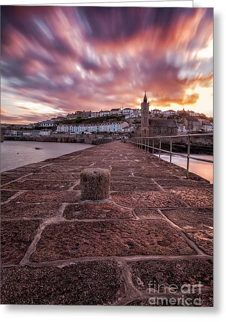 Porthleven Pier Sunrise Greeting Card by John Farnan