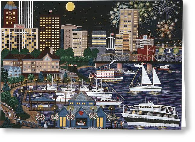 Portland @ Night Greeting Card by Jennifer Lake