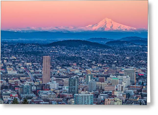 Portland And Mt Hood Greeting Card
