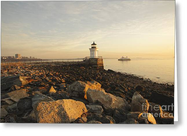 Portland Breakwater Light - Portland Maine Greeting Card by Erin Paul Donovan