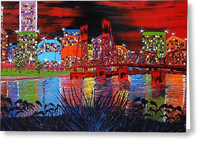 Portland City Lights 32 Greeting Card by Portland Art Creations