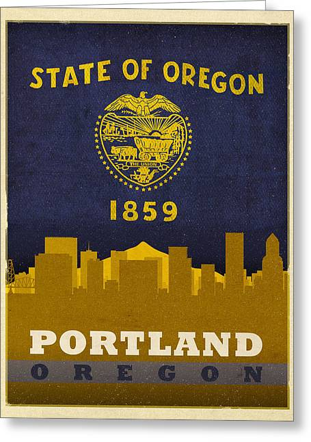 Portland City Skyline State Flag Of Oregon Art Poster Series 004 Greeting Card by Design Turnpike