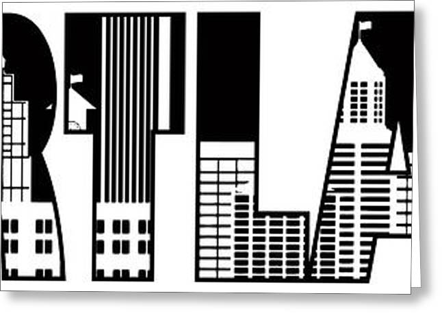 Portland City Skyline Text Outline Illustration Greeting Card