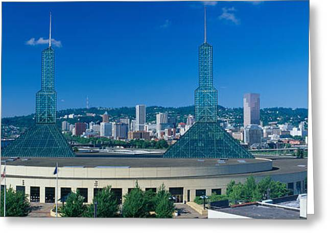 Portland Convention Center, Morning Greeting Card by Panoramic Images