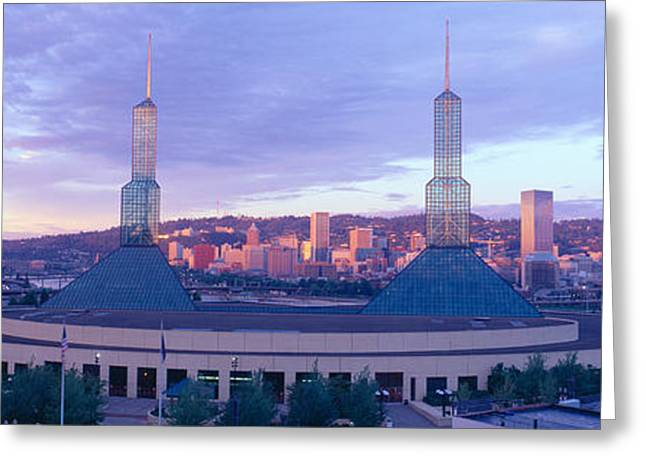 Portland Convention Center, Sunrise Greeting Card by Panoramic Images