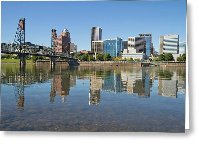 Greeting Card featuring the photograph Portland Downtown Skyline And Hawthorne Bridge by JPLDesigns