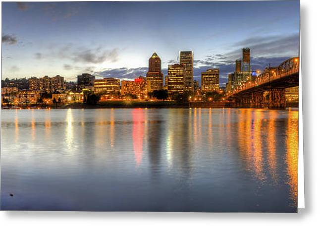 Portland Downtown Skyline Night Panorama 2 Greeting Card