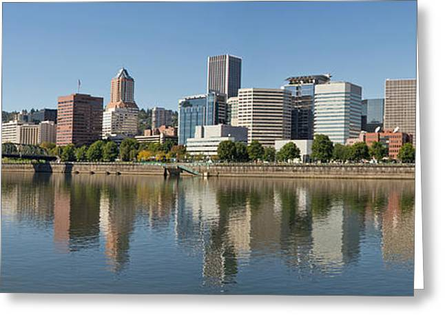 Greeting Card featuring the photograph Portland Downtown Waterfront Skyline Panorama by JPLDesigns