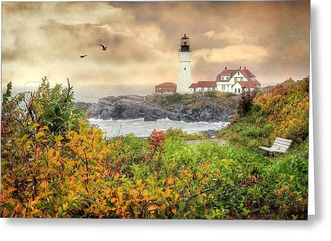 Portland Head In Autumn Greeting Card by Lori Deiter