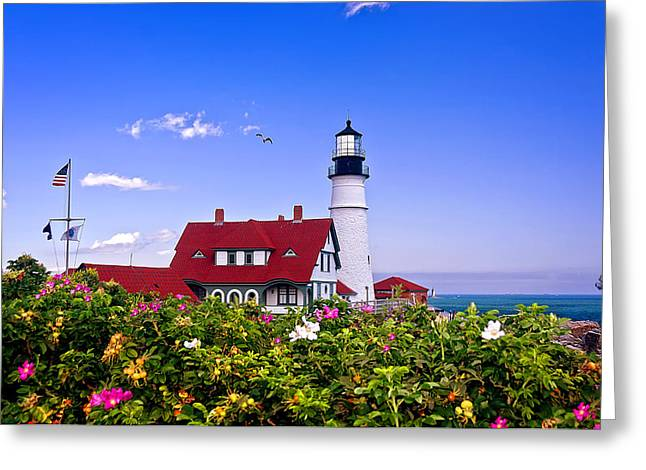 Portland Head Light And Roses Greeting Card by Mitchell R Grosky
