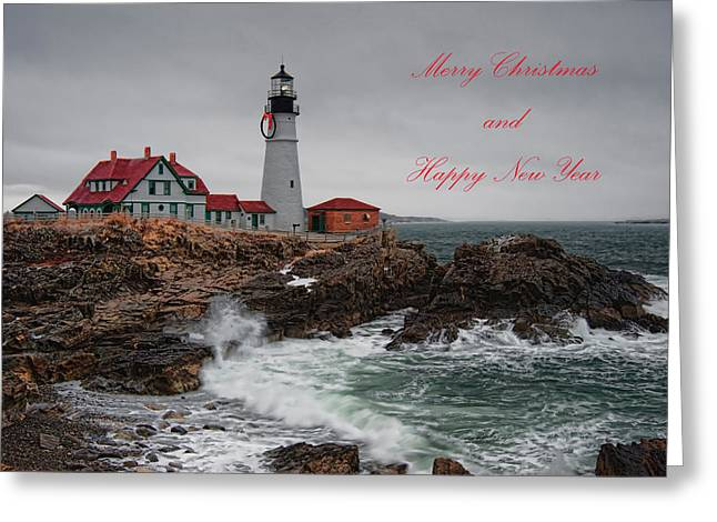 Portland Head Light At Christmas Greeting Card by Richard Bean