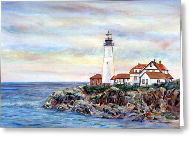 Portland Head Light In Maine Greeting Card by Pamela Parsons