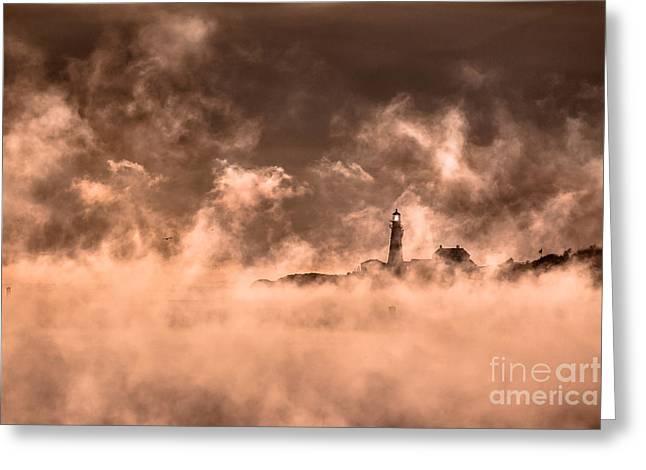 Portland Head Light Sea Smoke Greeting Card by Benjamin Williamson