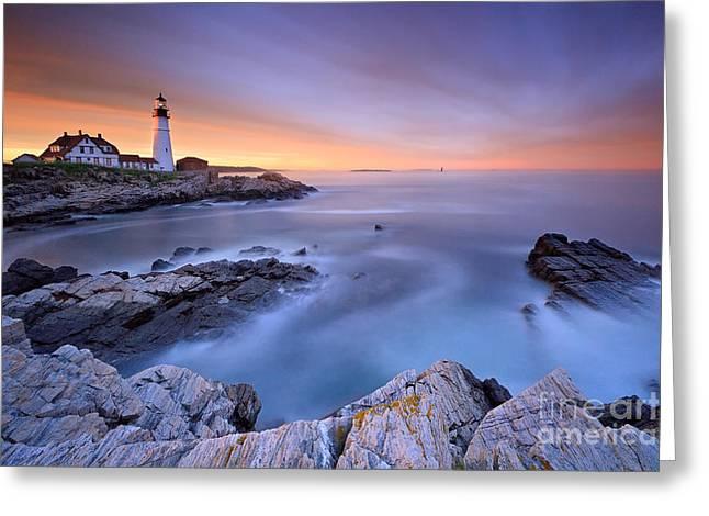Portland Head Light Sunset Seascape Greeting Card by Katherine Gendreau