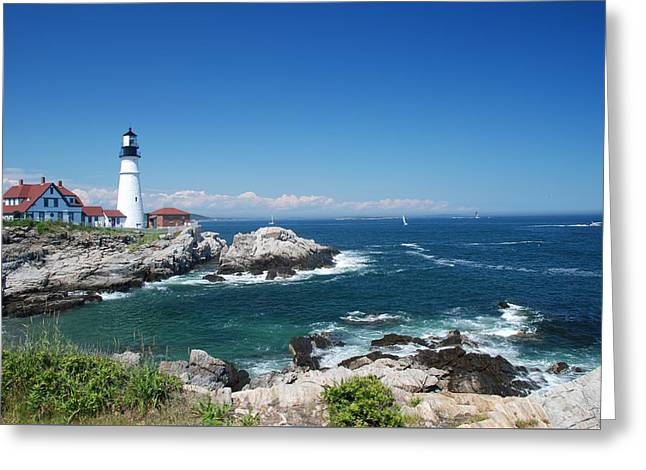 Portland Head Lighthouse Greeting Card by Allen Beatty
