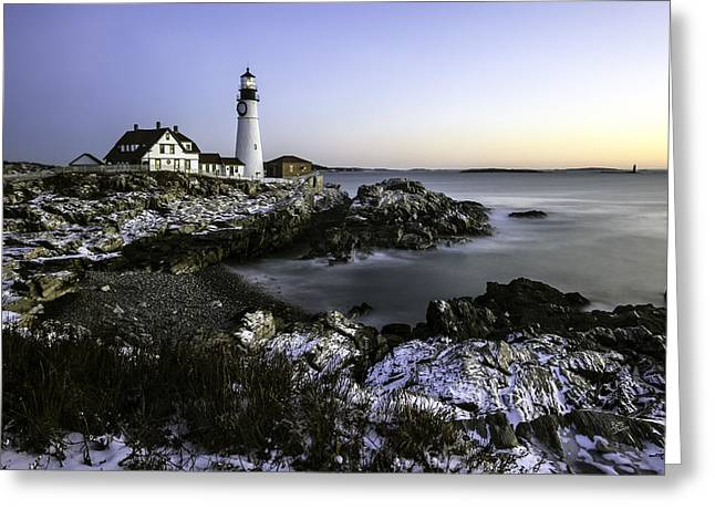 Portland Head Lighthouse At Dawn Greeting Card by Betty Denise