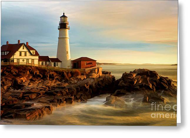 Portland Head Lighthouse At Dawn Greeting Card by Jerry Fornarotto