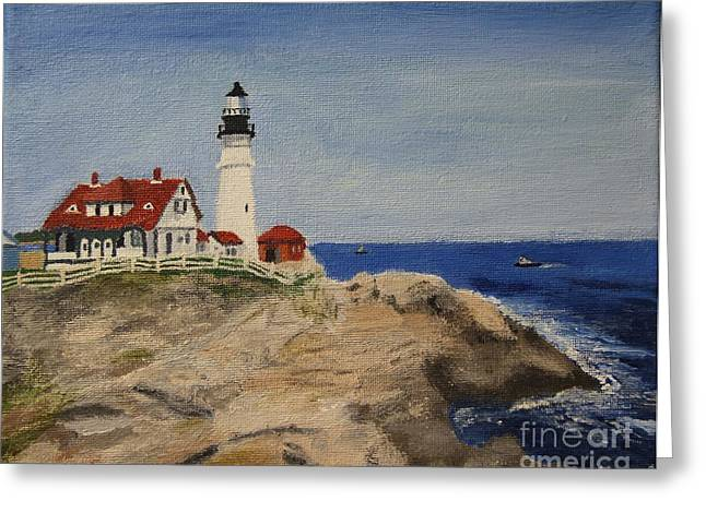 Portland Head Lighthouse In Maine Greeting Card