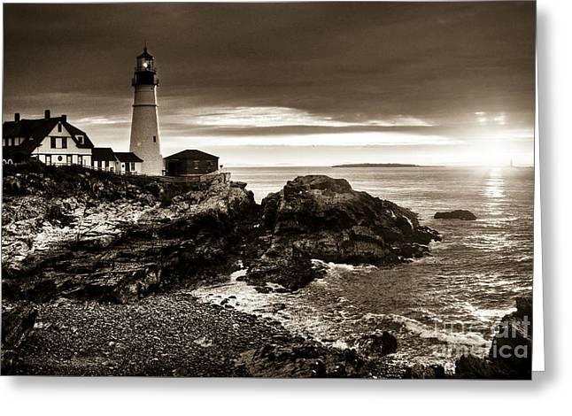 Greeting Card featuring the photograph Portland Head Lighthouse Sunrise by Alana Ranney