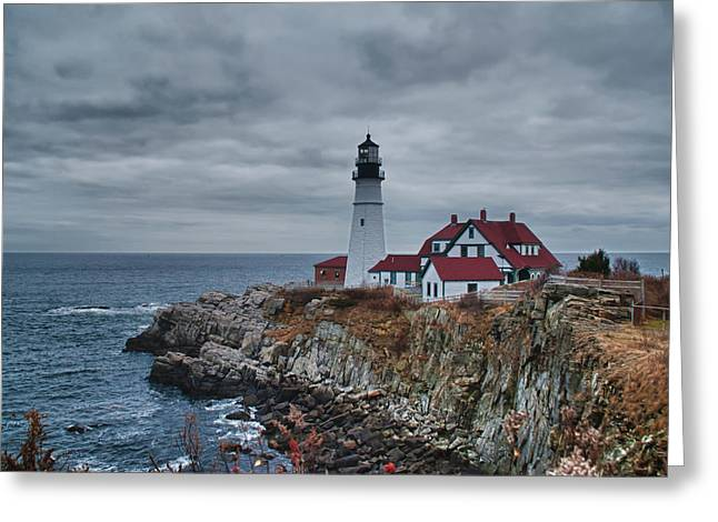 Greeting Card featuring the photograph Portland Headlight 14440 by Guy Whiteley