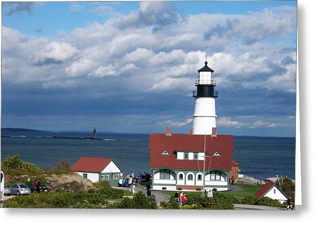 Portland Headlight Greeting Card by Catherine Gagne