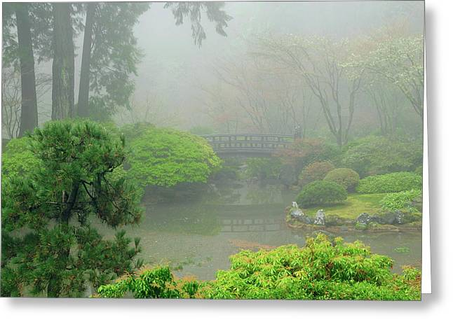 Portland Japanese Garden Fogged Greeting Card by Michel Hersen