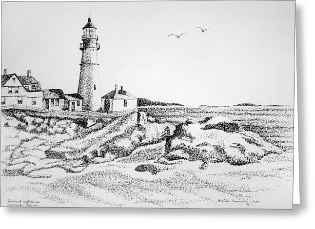 Portland Lighthouse Greeting Card by Melinda Saminski