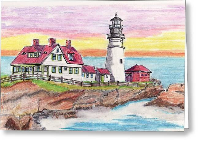 Portland Me Lighthouse Greeting Card by Paul Meinerth