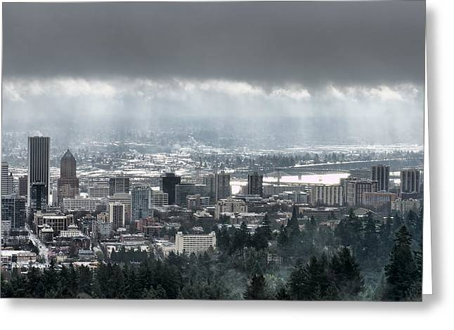 Portland Oregon After A Morning Rain Greeting Card