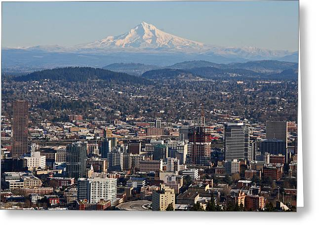 Portland Oregon And Mt. Hood Greeting Card