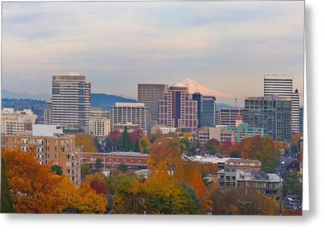 Portland Oregon City Skyline And Mount Hood Greeting Card