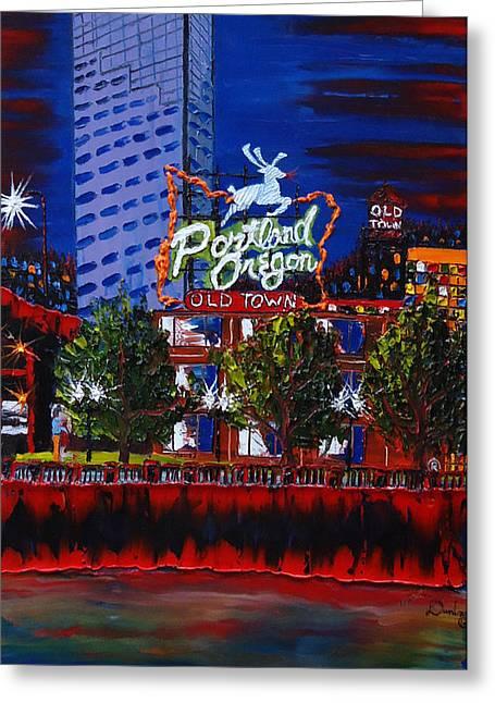 Portland Oregon Sign 15 Greeting Card by Portland Art Creations