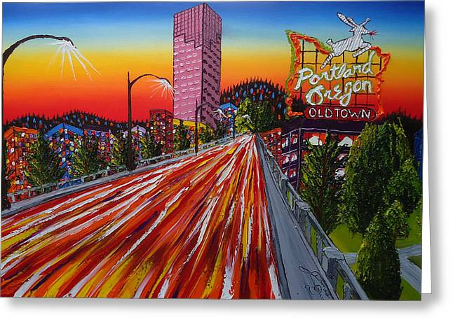 Portland Oregon Sign 16 Greeting Card by Portland Art Creations