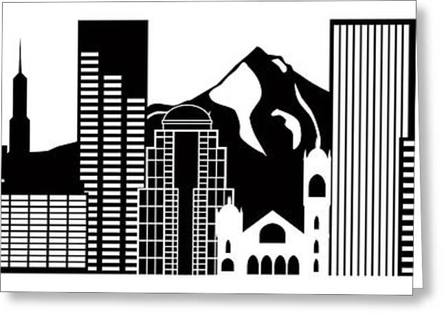 Portland Oregon Skyline Black And White Illustration Greeting Card