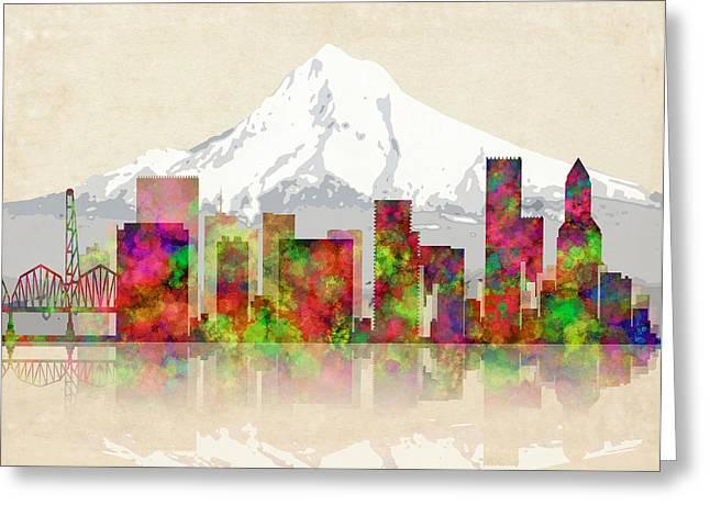 Portland Oregon Skyline Greeting Card by Daniel Hagerman